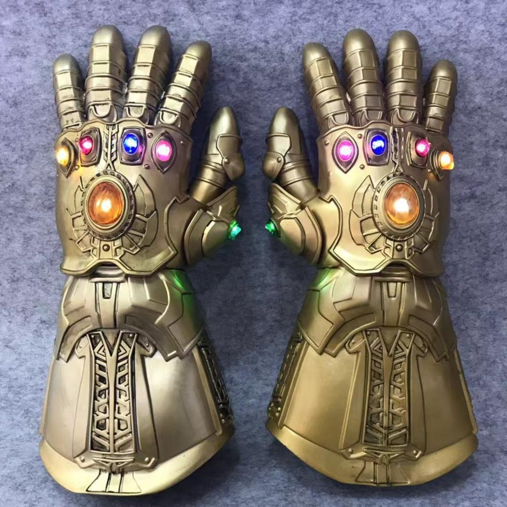 Thanos Avengers unlimited gloves with light Latex / PVC 2 choices Infinity Stones Gems 4 War Marvel