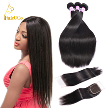 HairUGo Peruvian Straight Hair 3 Bundles with Closure Non Remy Human Natural Color Weave 8-28Inch