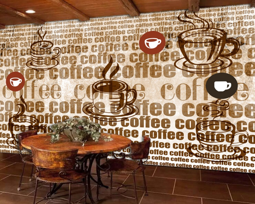 Us 19 0 50 Off Free Shipping Cafe Theme Vintage Retro Background Wall Painting Coffee Alphabet Restaurant Bakery Wallpaper Custom 3d Mural In
