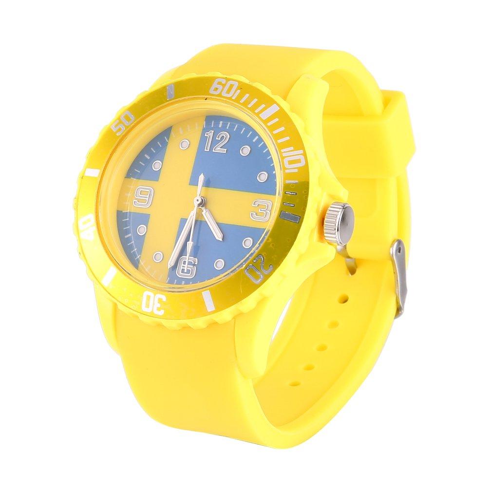 Yellow Sweden Flag Pattern Quartz Watches Casual Sport Strap Men Women Dress Wristwatches