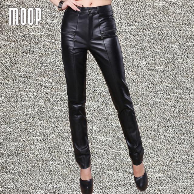 ea857cf43d90 Black genuine leather pants cowskin real leather pencil pants trousers  pantalon femme pantalones mujer free shipping LT1235
