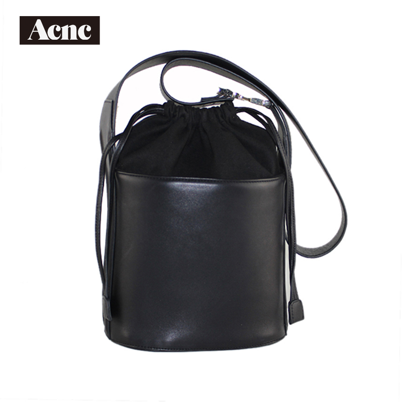 2018 Acnc Legend New Stly Leather Bucket Bag ,genuine Leather Women Drawstring Bags, Lady Real Leather Shoulder Bag,free Shippin