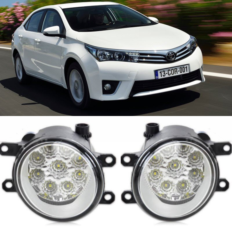 Car-Styling For Toyota Corolla 2014 2015 2016 9-Pieces Leds Chips LED Fog Head Lamp H11 H8 12V 55W Halogen Fog Lights fog light set 12v 55w car fog lights lamp for toyota hiace 2014 on clear lens wiring kit free shipping
