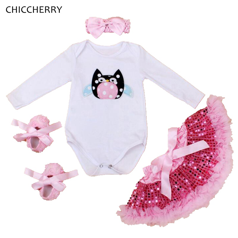 Owl Newborn Baby Clothes 4pcs Infant Bodysuit Headband + Sequins Lace Skirt Set Birthday Outfits Ropa De Bebe Overalls for Kids