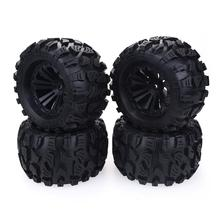 New 4PCS 125mm 1/10 Monster Truck Tire& Wheel Hex 12mm For Traxxas Tamiya Kyosho HPI HSP Savage XS TM Flux LRP
