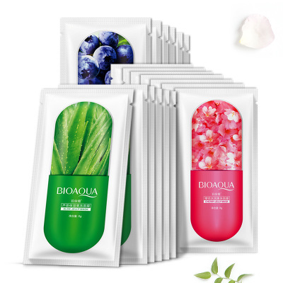 30pcs BIOAQUA Facial Mask Blueberry Cherry Jelly Whitening Moisturizing Nourish Oil Control Skin Care Face Mask