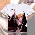 Anime Bleach Kurosaki ichigo Cosplay Impresso Manga Curta Camisetas Capitão Tops Tees Ishida Uryuu Tshirt Verão