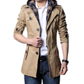 New Sale  Mens Trench Coat Fashion Single Breasted Removable Hooded Slim Long Trench Coat Men Casual Mens Long Coat Size M-6XL