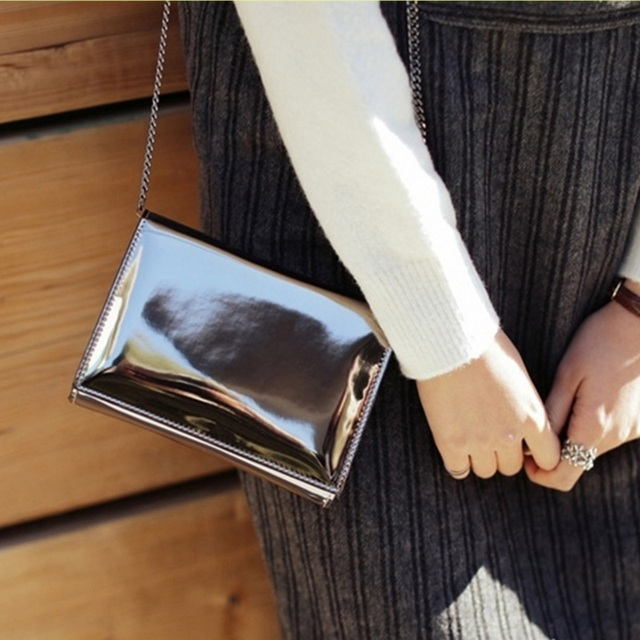 99ca07680b Laser Silver Mirror Women Chain Shoulder Bags Girl Patent Leather Hologram  Bright Handbag Clutch Ladies Small