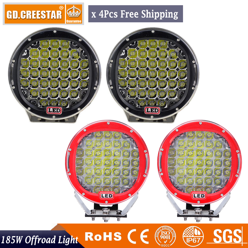 czg 51wr 4x4 7 inch round 51w led work light led driving light 7 led auto lamp led off road light for jeep truck suv atv utv 185w 9inch Red Black round led driving light 15700LM 12V 24V led off road light 4PCS led work light for SUV ATV UTV 4WD 4X4 Lamp