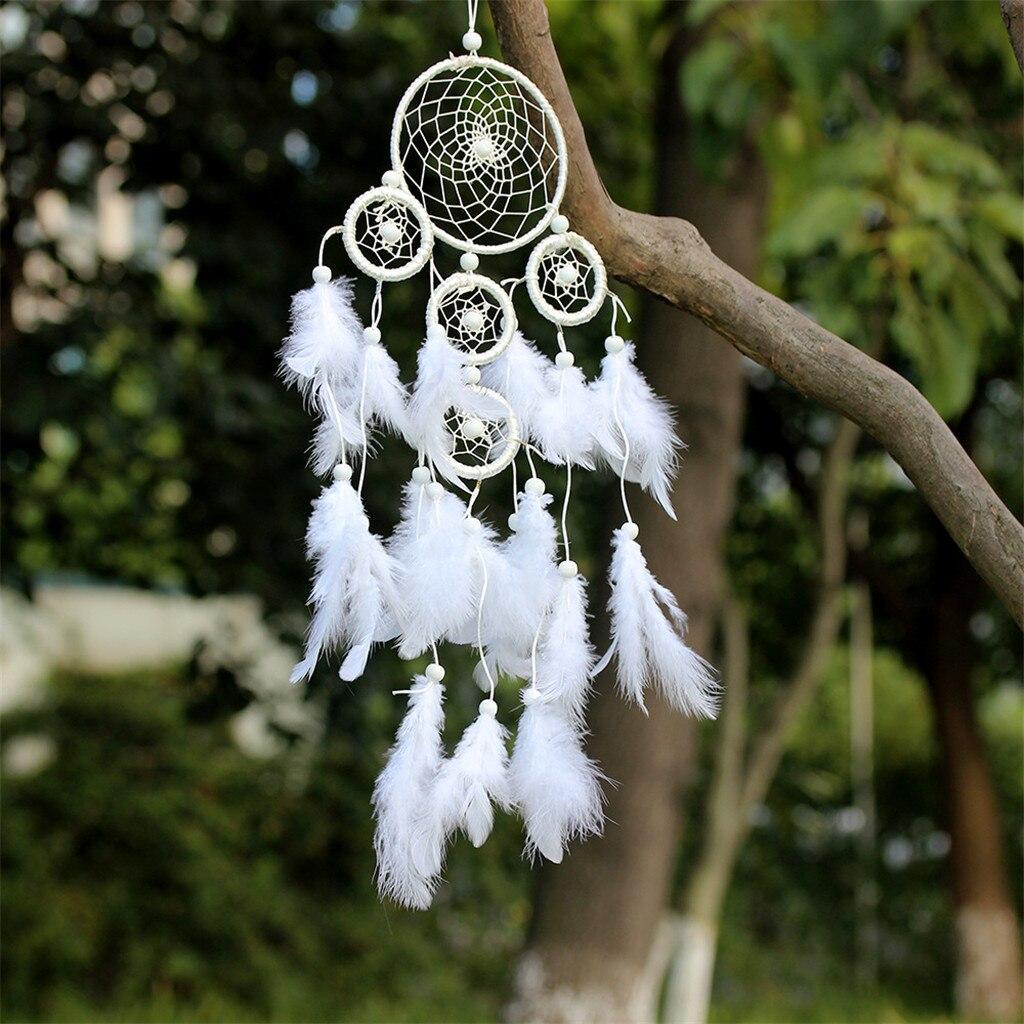 Favourite Scandinavian Nursery Kids Room Decor Items: Dream Catcher Circular White Feathers Nordic Decoration