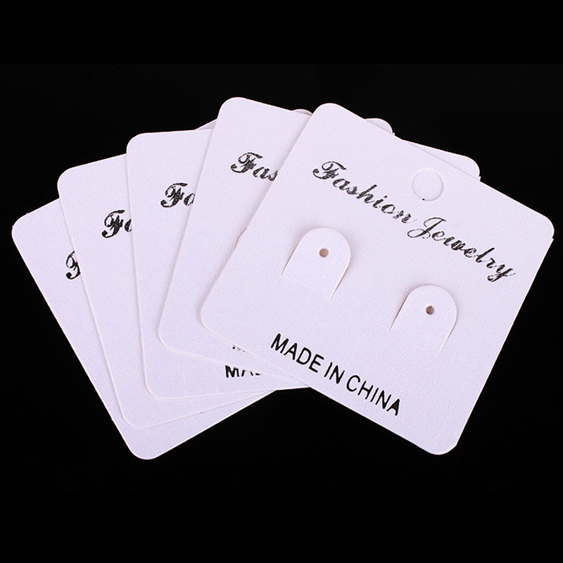 5x5cm 500pcs/lot White Paper Jewelry Card Earring Display Cards Packaging Hot Sale Paper Jewelry Display Card H0158