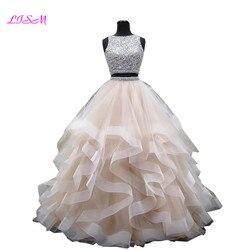 Роскошное бальное платье из двух частей с кристаллами, бальное платье, бальное платье с круглым вырезом и открытой спиной, длинное Многояру...