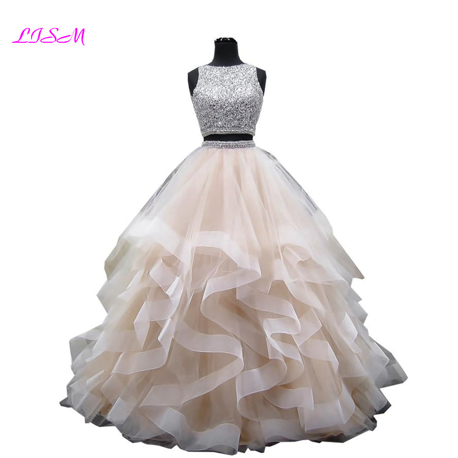 Cristais de luxo duas peças vestido de baile quinceanera vestidos o pescoço frisado aberto volta concurso vestido longo camadas organza doce 16 vestido