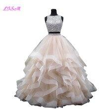 Lüks kristaller İki adet balo Quinceanera elbiseler o boyun boncuklu aç geri Pageant elbise uzun katmanlı organze tatlı 16 elbise