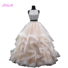 Ball-Gown Quinceanera-Dresses 16-Dress O-Neck Organza Two-Pieces Sweet Luxury Crystals