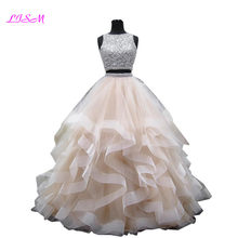 Luxury Crystals Two Pieces Ball Gown Quinceanera Dresses O-neck Beaded Open Back Pageant Gown Long Tiered Organza Sweet 16 Dress(China)
