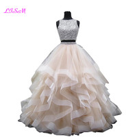 Luxury Crystals Two Pieces Ball Gown Quinceanera Dresses O neck Beaded Open Back Pageant Gown Long Tiered Organza Sweet 16 Dress