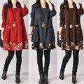 Plus size mulheres vintage solto casual dress outono floral impressão patchwork o pescoço manga comprida pockets mini vestidos vestidos s-4xl