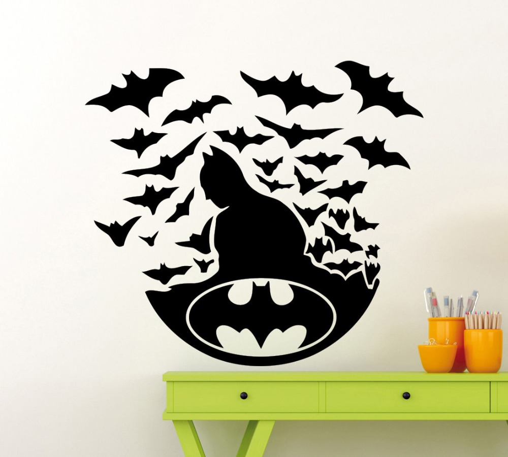 batman logo vinyl kunst design wandtattoo superhelden abnehmbare wandaufkleber home schlafzimmer. Black Bedroom Furniture Sets. Home Design Ideas