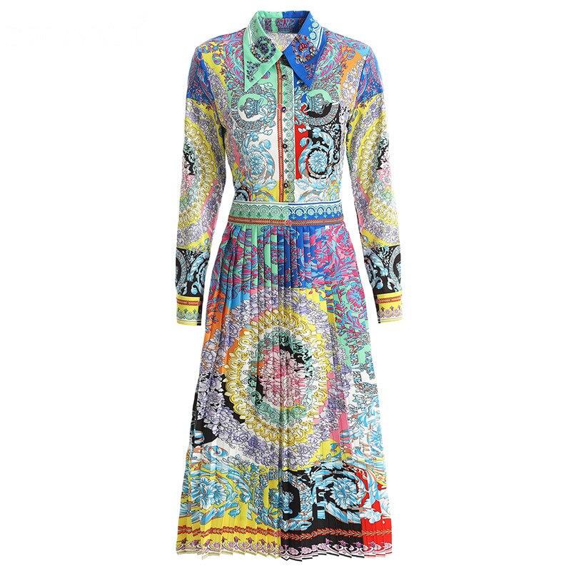 Svoryxiu 2019 ฤดูใบไม้ผลิใหม่ฤดูร้อนรันเวย์ชุดจีบผู้หญิงแขนยาวประดับด้วยลูกปัด Vintage สีพิมพ์ชุดปาร์ตี้-ใน ชุดเดรส จาก เสื้อผ้าสตรี บน   3