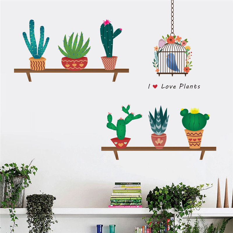 Cactus Aloe Vera Flower Pots Wall Stickers For Office Living Room Decoration Pastoral Mural Art Diy Home Decals Posters
