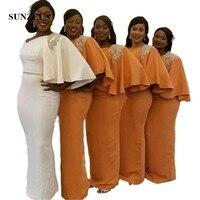 Одно плечо Половина рукава белые Подружкам невесты атласные в африканском стиле нарядные платья для свадьбы бисером разрез сзади Выпускны
