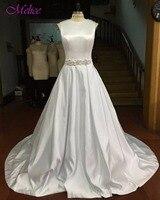 Melice Robe De Mariage изящные атласные суд Поезд Винтаж свадебное платье 2018 люкс аппликации Пояса бисером платье невесты Лидер продаж