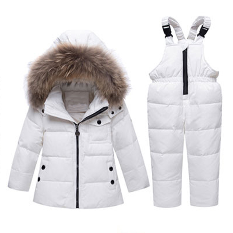 Baby Boy Girl Winter Jacket Down Clothing Set Coat For Kids Infant Snowsuit Overcoat Fur Hooded Children Overalls Warm Clothes baby down hooded jackets for newborns girl boy snowsuit warm overalls outerwear infant kids winter rompers clothing jumpsuit set