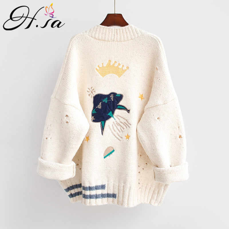 HSA 2018 Herbst Winter Frauen Pullover Strickjacken Cartoon Stickerei Strickjacken Poncho Einreiher Stricken Pullover Harajuku heraus Top