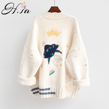 8a6953d977f99 HSA 2018 Autumn Winter Women Sweater Cardigans Cartoon Embroidery Cardigans  Poncho Single Breasted Knit Sweater Harajuku