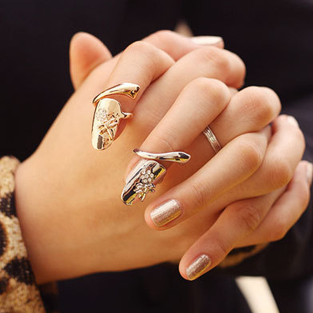 2Pcs Personality Dragonfly Flower Ring For Women Stainless Steel ...