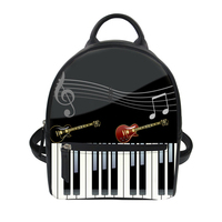 Noisydesigns Women Small Backpack 3D Music Piano Keyboard Print Luxury PU Leather String Shoulder Rucksack for Teen Girl Bagpack