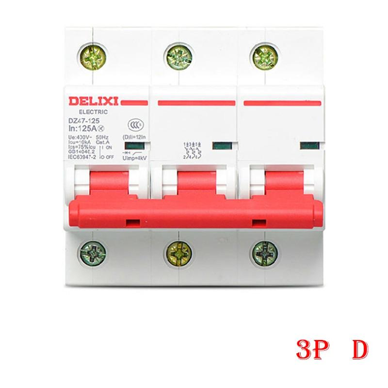 Miniature Circuit breaker Air switch DZ47-125 DELIXI MCB 3Pole D Curvers 63A-125A 63A 80A 100A 125A dz47 100h 63a 2p ac 230v or 400v mini circuit breaker mcb cutout switch breaker switch chopper 2pcs