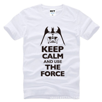Keep Calm and Use The Force Print STAR WARS Movie T Shirt Tshirt Mens Men Fashion 2016 Cotton T-shirt Tee Shirt Homme 2