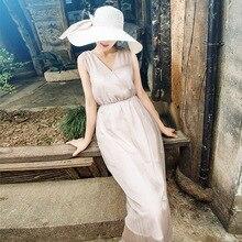 Summer Dress Chiffon Women's Fashion 2019 New V-Neck Sleeveless Solid Color Elegant Dress Midi Korean Version Tank Dress S-XXXL цены