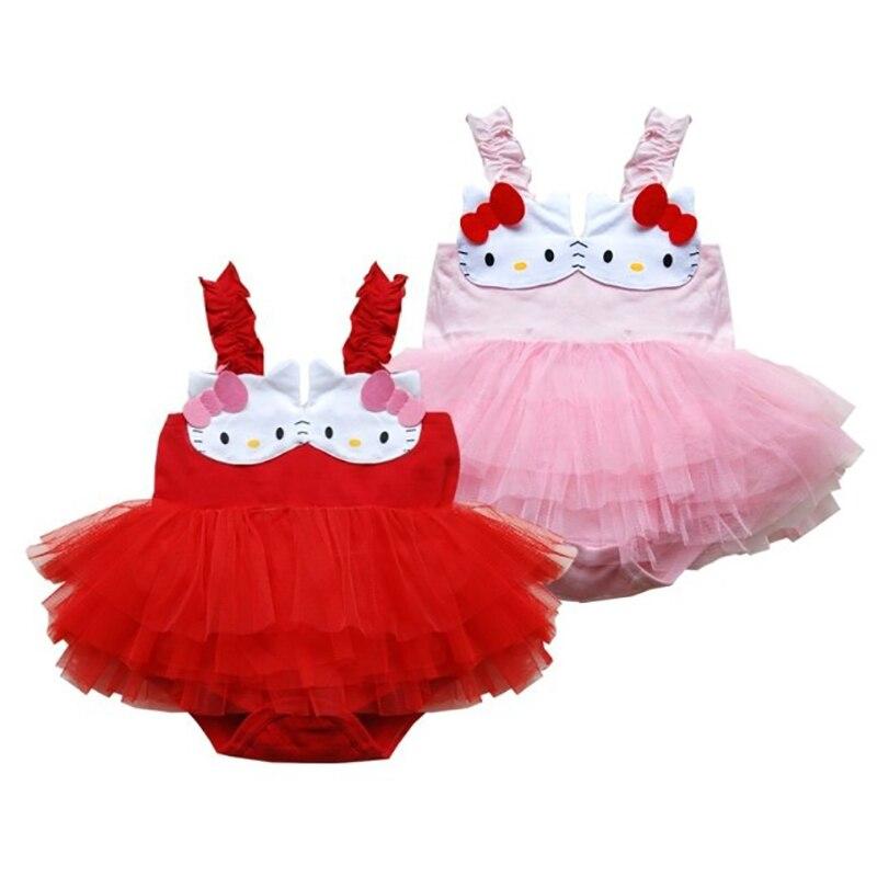 Baby Girl Clothes Newborn Baby Romper Dress Summer Bebe Infant Girls Hello Kitty Lace Tutu Tank Dresses Vestido Infantil Romper