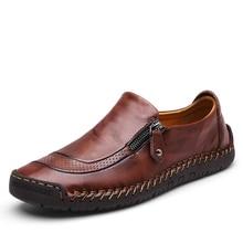 Модная мужская повседневная обувь; сезон четыре года; мягкая удобная прошитая вручную обувь без застежки с круглым носком; обувь из натуральной кожи на плоской подошве; Цвет Красный