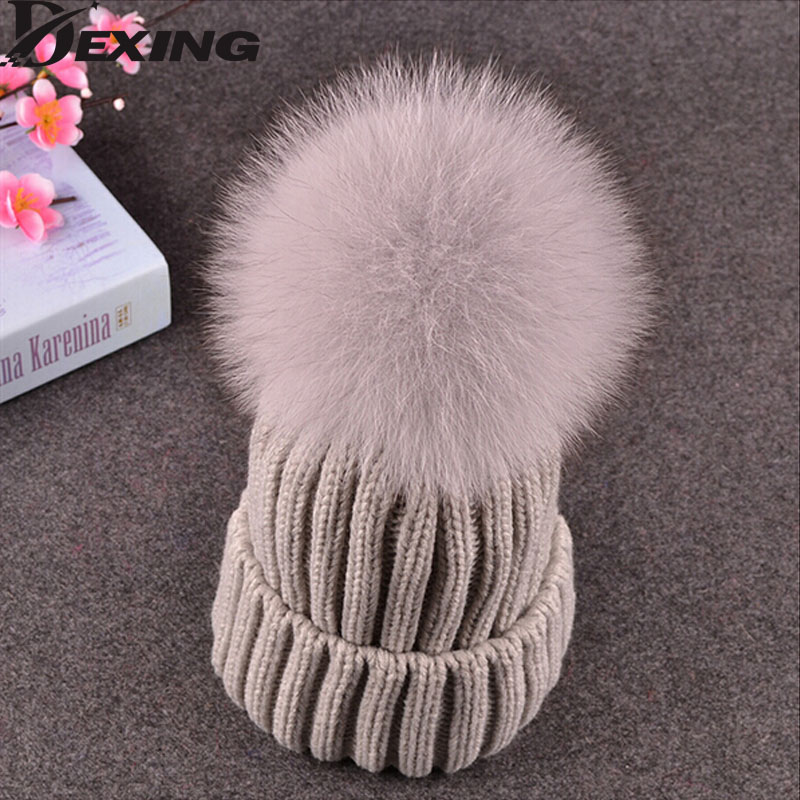 Big Genuine Real Fox Fur Pompom Winter Hat Cap Warm Knitted Bobble Mink Fur Pom Poms Beanie Hat Women Ski Hat With Pompon Ball 10cm real fox fur ball keychain on the keys fluffy real fur pompom car for couples fur ball key chains fur cap beanie