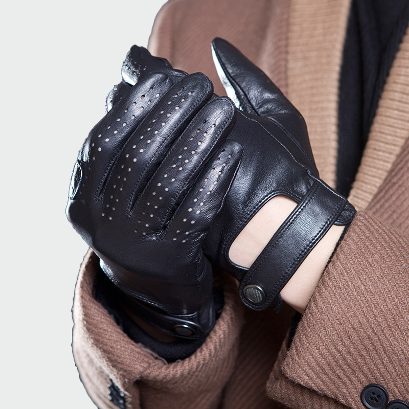 Mens Genuine Leather Gloves Male Breathable Goatskin Thin Spring Summer Autumn Driving Anti-skid Mittens Men Gloves ML045