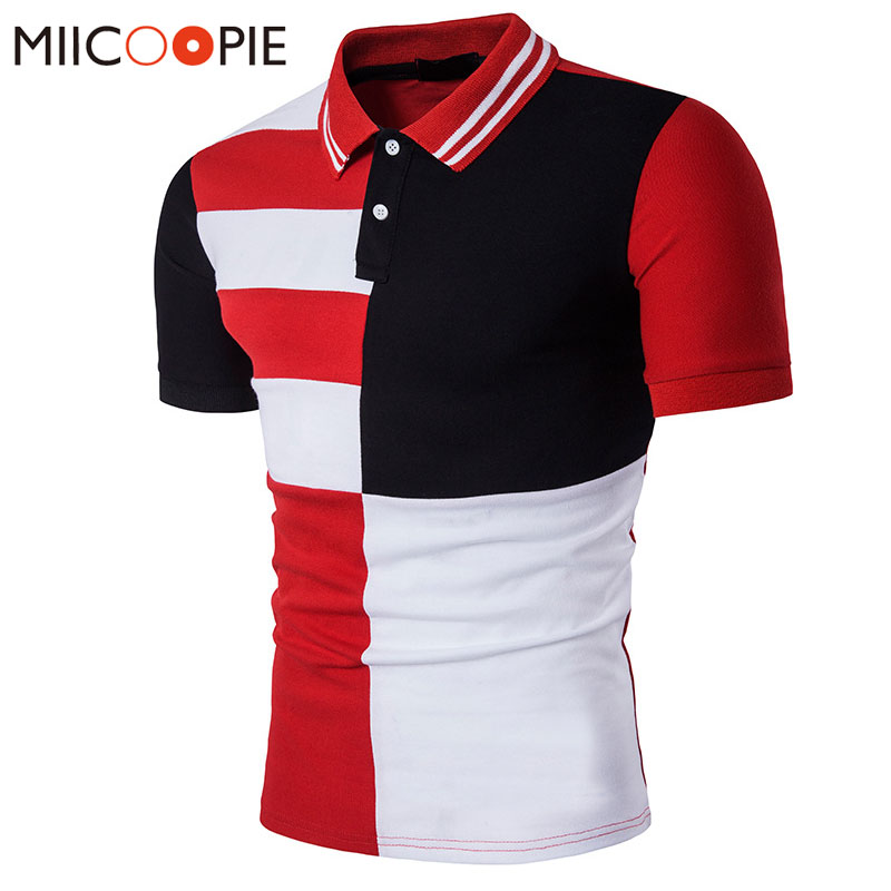 Summer 2018 Fashion Men Polo Shirt Cotton Black Red Patchwork Color Short Sleeves Casual Camisa Polo Slim Fit Polo Homme XXL