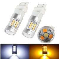 2 Pcs De Voiture Lumière 3157 3528 SMD 28 LED Double Couleur blanc Ambre Lentille De Projection Haute Puissance SwitchBack Ampoules Clignotants Lumières lampe