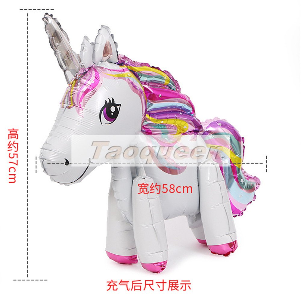 Taoqueen Party Balloons Birthday Wedding Engagement Children's Day Foil Unicorn Balloons Party Decorations Supplies Cartoon Hat
