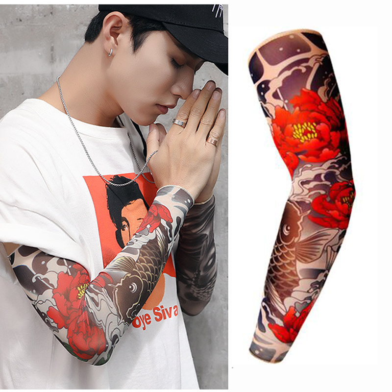 Free Shipping 3D Print Fake Tattoo Sleeves Men Women Summer UV Sun Protection Cool Cycling Sleeves S, L Pakistan