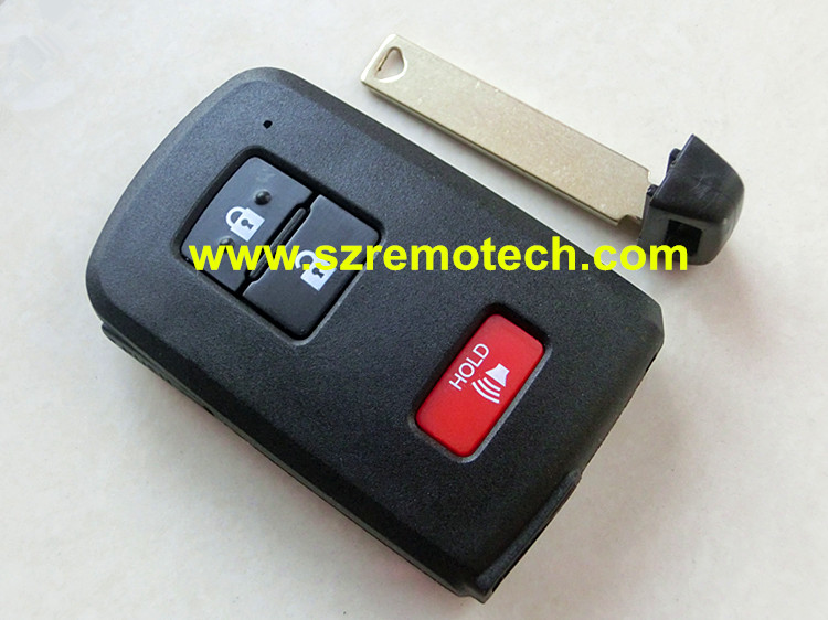Free Shipping High Quality 2+Panic remote key Shell Smart Card Blank Fit For Toyota remote key Fob with emergency key