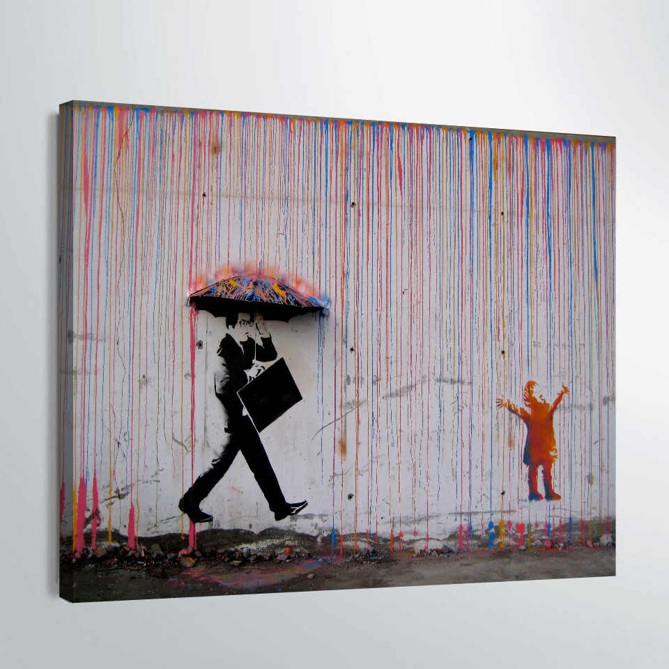 Banksy Canvas Art 1 Piece Canvas Art Wall Painting Banksy Graffiti Art Colourful Rain Poster Paintings Print Abstract Wall Art Picture Home Decor