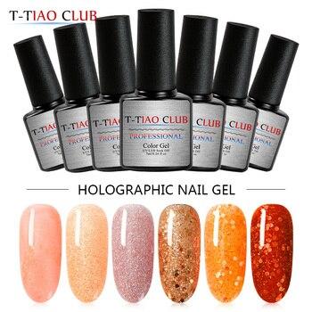 T-TIAO CLUB 7ml Laser Orange Series Glitter Gel Nail Polish  Shining Soak Off UV Art Varnish Lacquer