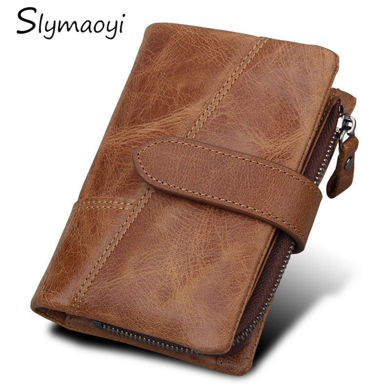 Slymaoyi Genuine Leather Retro Men Wallets Hasp Design Male Wallet High Quality Card Holder for Men's Black Brown Purse Carteira casual weaving design card holder handbag hasp wallet for women