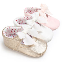 2017 New Baby Leather Shoes PU Bowknot Princess Toddler Shoes Slip into First Walkers 0-18 M