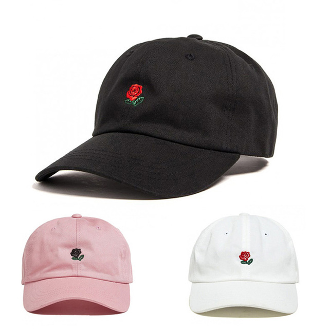 07c62570bd8 100% Cotton Rose embroidery hat black cap Blank snapback hip hop dad cap  designer hats men women Visor hat skateboard gorra bone
